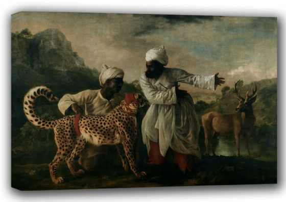 Stubbs, George: Gepard (Cheetah), Indian Servants and Deer. Fine Art Canvas. Sizes: A3/A2/A1 (001156)